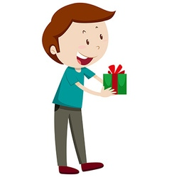 Man holding present box vector