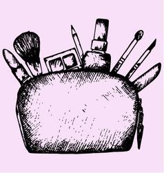 make up bag cosmetics vector image