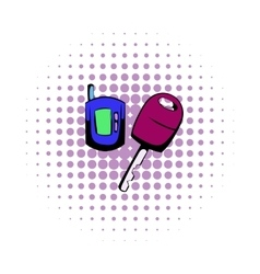 Car key with a remote control comics icon vector