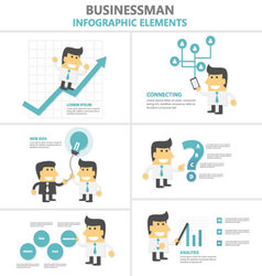 Businessman activity infographic elements set vector