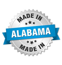 Made in alabama silver badge with blue ribbon vector