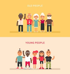 A group of young and a group of elderly people two vector