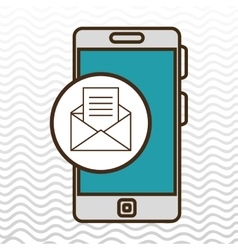 Smartphone blue envelope isolated icon design vector
