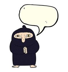 Cartoon monk in robe with speech bubble vector