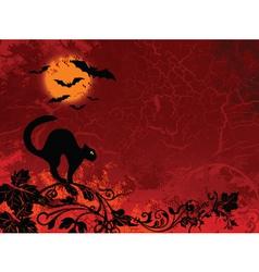 Cat bat halloween vector