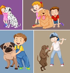 Children and pet dogs vector image