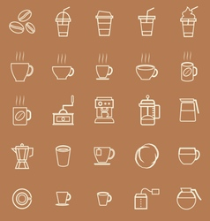 Coffee line icons on brown background vector