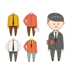 Different outfits for character construction vector