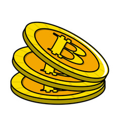 Digital bitcoins currency and electronic financial vector