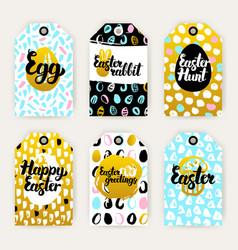Easter gold gift labels vector