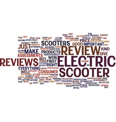 Electric scooter review text background word vector