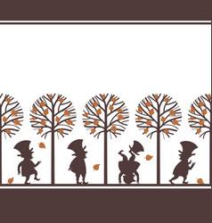 endless border with leprechauns in fall garden vector image vector image