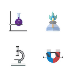 Flat science set of glass flame flask and other vector