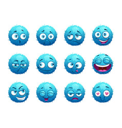 funny blue round characters set vector image