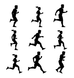 Group of runners silhouettes of male and female vector