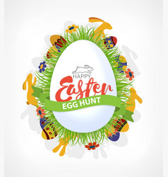 Happy easter eggs hunt poster or card with rabbits vector