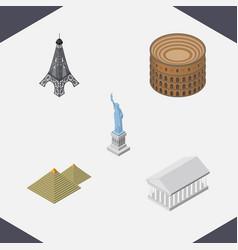 Isometric travel set of new york egypt coliseum vector