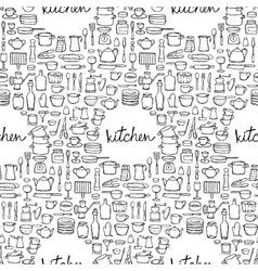 Kitchen Doodle Seamless Pattern vector image vector image