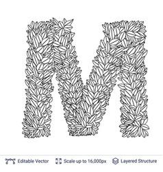 Letter m symbol of white leaves vector