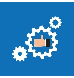 Like hand icon with gear work icon vector