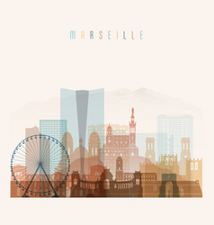marseille skyline detailed silhouette vector image vector image
