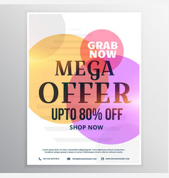 Mega sale discount voucher design template vector