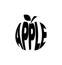 Monochrome apple stylized a silhouette with the vector image vector image