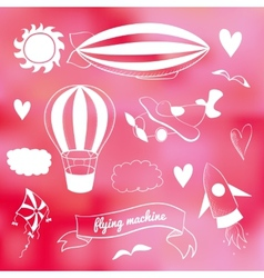 Romantic set with flying transport vector image