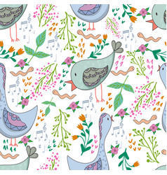 seamless pattern of birds and flowers in vector image vector image