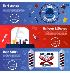 set of Barber banners with grooming vector image vector image