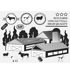 Set of premium cow goat lamb turkey beef labels on vector