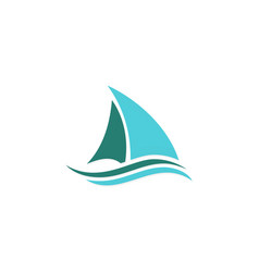 ship sail logo vector image vector image
