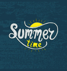 Summer time unique lettering poster art vector