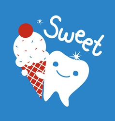 Sweet tooth with ice cream vector