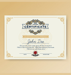vintage elegant certificate of achievement vector image vector image