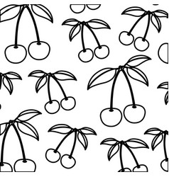 White background of monochrome pattern of cherries vector