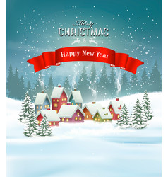 winter village christmas holiday background vector image vector image
