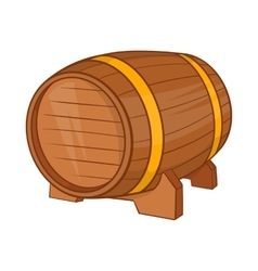 Wooden barrel of beer icon cartoon style vector image