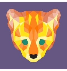 Orange and yellow low poly ocelot vector