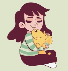Cute girl holding dog vector