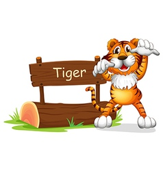 Cartoon tiger signboard vector
