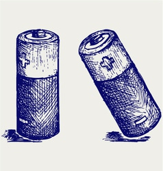Two batteries vector