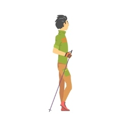 Man in green t-shirt with gloves doing nordic walk vector