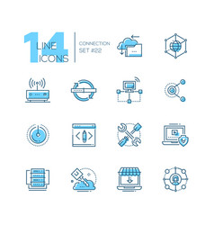 Connection - coloured modern single line icons set vector
