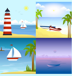 a boat on a tropical beach vector image