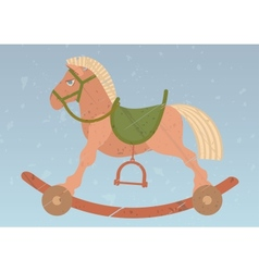 Toy rocking horse on the retro background vector
