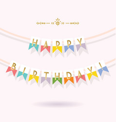 Golden and colorful happy birthday bunting banners vector