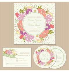 Wedding cards with floral frame vector