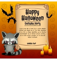 Banner happy halloween and angry raccoon vector
