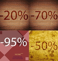 70 95 50 icon set of percent discount on abstract vector
